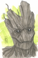 """Tom Hodges - Groot """"Guardians of the Galaxy"""" Signed ORIGINAL 5.5"""" x 8.5"""" Color Drawing on Paper (1/1)"""