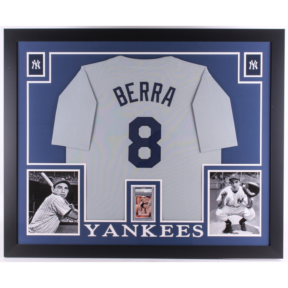 32edd6eff2b Yogi Berra Signed Yankees 35x43 Custom Framed Display With Jersey   Signed  Baseball Card (PSA Authentic) (Imperfect)
