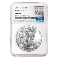 Lot of (5) 2017 1 oz Silver American Eagle $1 Coins - Early Releases (225th Anniversary Label) (NGC MS 69) at PristineAuction.com