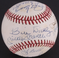Yankees Hall of Famers OAL Baseball Signed by (10) with Joe DiMaggio, Mickey Mantle, Phil Rizzuto, Johnny Mize, Reggie Jackson, Lefty Gomez (JSA LOA)