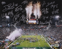 2004 Patriots Super Bowl XXXIX 16x20 Photo Team-Signed by (28) with Tom Brady, Rodney Harrison, Adam Vinatieri, Tedy Bruschi (Beckett LOA, TriStar COA & Vinatieri Hologram)