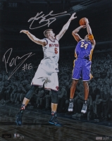 "Kobe Bryant & Kristaps Porzingis Signed LE ""Kobe's Last Game at Madison Square Garden"" 16x20 Photo (Panini COA & Steiner COA)"