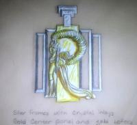 """Erte Signed 1980's 14x16 Custom Framed Original Jewelry """"Letter R"""" Design Painting (Circle Fine Art COA)"""