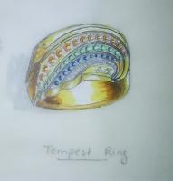 "Erte Signed 1980's 10x14 Custom Framed Original Jewelry ""The Tempest Ring"" Design Painting (Circle Fine Art COA)"
