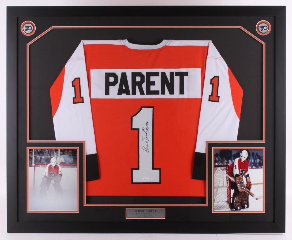 Bernie Parent Signed Flyers 35x42.75 Custom Framed Jersey Display Inscribed