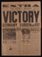 "Original Vintage The Wichita Beacon Newspaper Dated May 7, 1945 with ""Victory Germany Surrenders!"" Cover Story"