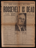 "Original Vintage Philadelphia Record Newspaper Dated April 13, 1945 with ""Roosevelt is Dead"" Cover Story"