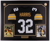 Franco Harris Signed Steelers 35x42.75 Custom Framed Jersey Display (JSA COA)