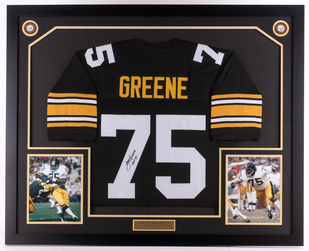 69a04c434 Joe Greene Signed Steelers 35x42.75 Custom Framed Jersey Display Inscribed