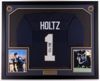 "Lou Holtz Signed Notre Dame Fighting Irish 35x42.75 Custom Framed Jersey Display Inscribed ""88 Nat. Champs"" (JSA COA)"
