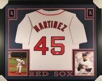 "Pedro Martinez Signed Red Sox 35x43 Custom Framed Jersey Inscribed ""04 WS Champs"" (JSA COA)"