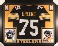 """Joe Greene Signed Steelers 35x43 Custom Framed Jersey Inscribed """"HOF 87"""" (JSA COA)"""