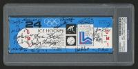 1980 U.S.A Olympic Hockey Team Unused Ticket Stub Signed By (18) With Mike Eruzione, Jim Craig, Mark Johnson, Bil Baker (PSA Encapsulated)