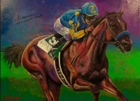 """Victor Espinoza Signed """"American Pharaoh"""" 30x40 Hand-Embellished Giclee on Canvas by Bill Lopa Inscribed """"2015 Triple Crown"""" Limited Edition out of 50 (Lopa Studios LOA)"""