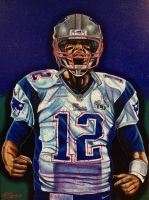 Artist Bill Lopa Signed Tom Brady Patriots 30x40 Hand-Embellished Giclee on Canvas (Lopa Studios LOA)