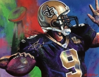 Drew Brees Signed Saints 30x40 Hand-Embellished Giclee on Canvas by Bill Lopa Limited Edition out of 9 (Lopa Studios LOA)