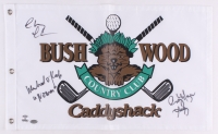 "Chevy Chase, Cindy Morgan & Michael O'Keefe Signed 12"" x 20"" Caddyshack Gopher Logo Bushwood Flag Inscribed ""Lacey"" & ""Noonan"" (Schwartz COA & Chase Hologram) at PristineAuction.com"