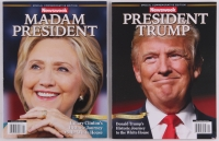 "Lot of (2) Commemorative Edition Newsweek Magazines with (1) Recalled ""Madame President"" & (1) Corrected ""President Trump"""