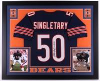 "Mike Singletary Signed Bears 35x43 Custom Framed Jersey Inscribed ""HOF 98"" (JSA COA)"