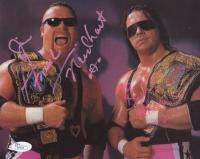 """Jim """"The Anvil"""" Neidhart & Bret """"Hitman"""" Hart Signed 8x10 Photo (JSA COA)"""