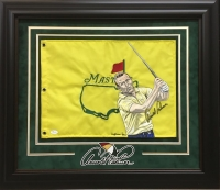 Arnold Palmer Signed Hand-Painted Masters Flag 25x29 Custom Framed Display (JSA LOA)