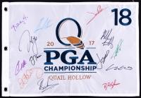 2017 PGA Championship Golf Pin Flag Signed by (13) with Jordan Spieth, Rory Mcllroy, Sergio Garcia, Justin Thomas, Jon Rahm (JSA ALOA)