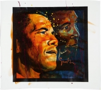 Muhammad Ali & Artist Simon Bull Signed 39x44 Giclee on Canvas (PSA LOA)