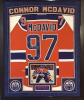 Connor McDavid Signed Oilers 36x42 Custom Framed Rookie Jersey Display (AJ's Sportsworld COA & McDavid Hologram) at PristineAuction.com
