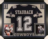 Roger Staubach Signed Cowboys 35x43 Custom Framed Jersey (JSA COA)