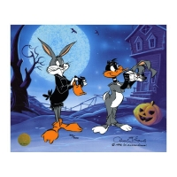 "Chuck Jones Signed ""Trick Or Treat"" Hand-painted Limited Edition 10x12 Sericel at PristineAuction.com"