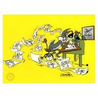 "Chuck Jones Signed ""Bugs Director: Chuck Amuck"" Hand-painted Limited Edition 13x16 Sericel"
