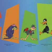 "Chuck Jones Signed ""Evolution Of Daffy"" Hand-painted Limited Edition 13x33 Sericel at PristineAuction.com"
