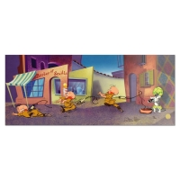 "Chuck Jones Signed ""Rabbit Of Seville"" Hand-painted Limited Edition 13x33 Sericel at PristineAuction.com"