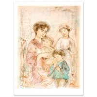 """Edna Hibel Signed """"Lotte and Her Children"""" Limited Edition 30x42 Lithograph at PristineAuction.com"""