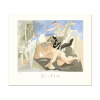 "Pablo Picasso Signed ""Composition au Minotaure"" 22x26 Original Lithograph"