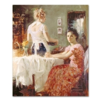 "Pino Signed ""Sharing Moments"" Artist Embellished Limited Edition 30x36 Giclee on Canvas"