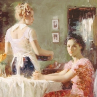 """Pino Signed """"Sharing Moments"""" Artist Embellished Limited Edition 30x36 Giclee on Canvas at PristineAuction.com"""