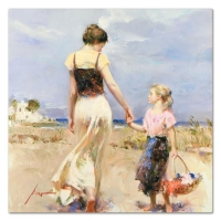 "Pino Signed ""Lets Go Home"" Artist Embellished Limited Edition 30x30 Giclee on Canvas"