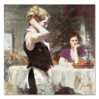 "Pino Signed ""Wistful Thinking"" Artist Embellished Limited Edition 30x30 Giclee on Canvas"