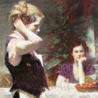 """Pino Signed """"Wistful Thinking"""" Artist Embellished Limited Edition 30x30 Giclee on Canvas at PristineAuction.com"""