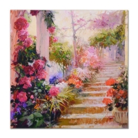 "Pino Signed ""Rose Garden Steps"" Limited Edition 30x30 Artist Embellished on Canvas at PristineAuction.com"