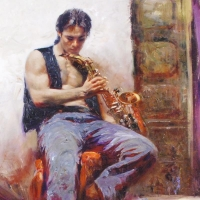 """Pino Signed """"Music Lover"""" Limited Edition 24x30 Artist Embellished Giclee on Canvas at PristineAuction.com"""