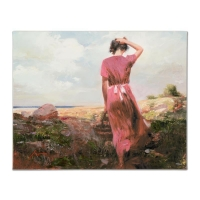 "Pino Signed ""Windy Day"" Limited Edition 30x24 Artist Embellished Giclee on Canvas"