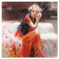 "Pino Signed ""Silent Contemplation"" Artist Embellished Limited Edition 28x28 Giclee on Canvas at PristineAuction.com"