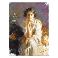 """Pino Signed """"Yellow Shawl"""" Artist Embellished Limited Edition 22x30 Giclee on Canvas"""