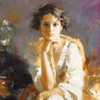 """Pino Signed """"Yellow Shawl"""" Artist Embellished Limited Edition 22x30 Giclee on Canvas at PristineAuction.com"""