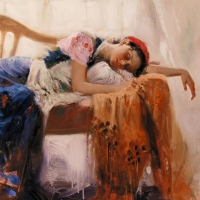 """Pino Signed """"At Rest"""" Artist Embellished Limited Edition 40x24 Giclee on Canvas at PristineAuction.com"""