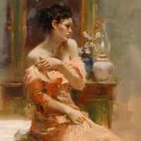 """Pino Signed """"Silk Taffeta"""" Artist Embellished Limited Edition 24x40 Giclee on Canvas at PristineAuction.com"""