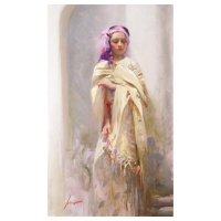"Pino Signed ""Silk Shawl"" Artist Embellished Limited Edition 24x40 Giclee on Canvas"
