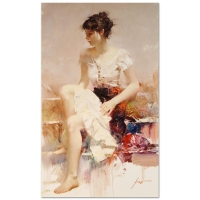 "Pino Signed ""White Lace"" Artist Embellished Limited Edition 24x40 Giclee on Canvas"